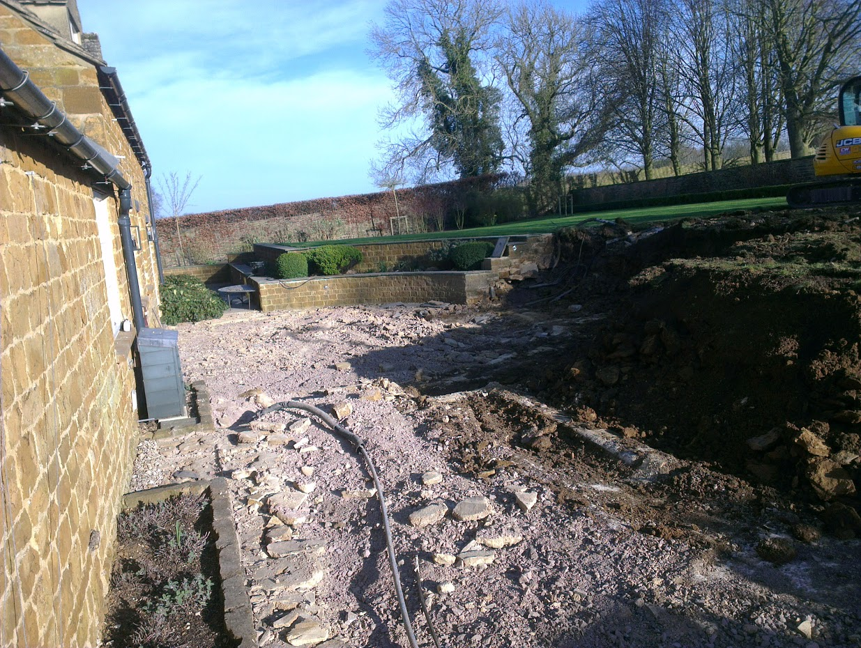 Existing garden dug out ready to begin building