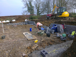 Footings and retaining walls being installed