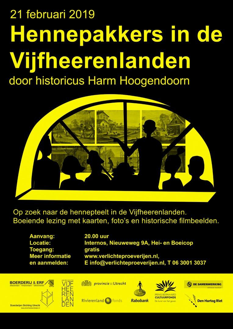 Poster lezing 'Hennepakkers in de Vijfheerenlanden'