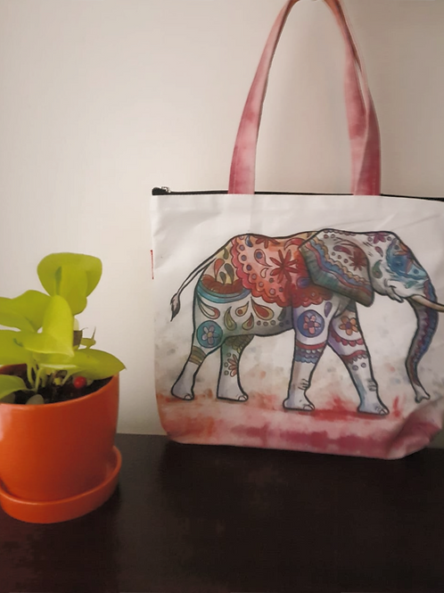 Hand Bag - Elephant Pattern