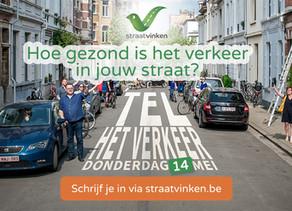 Tel op 14 mei het verkeer in jouw straat