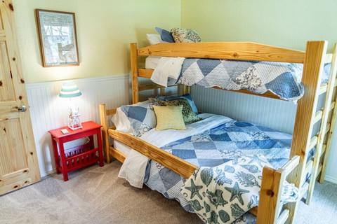 Queen bottom bunk and twin top bunk