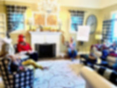 retreat meeting in living room at vintag