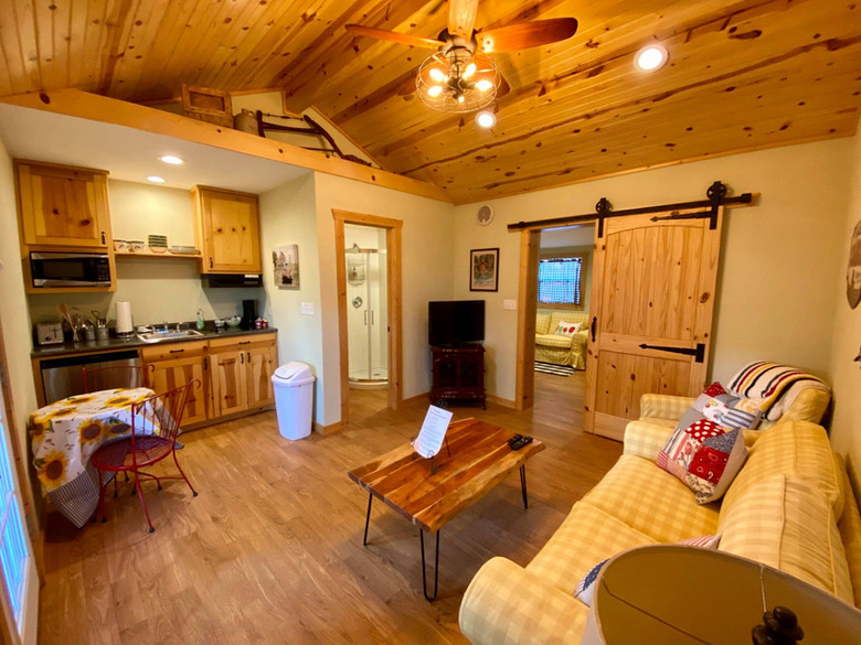 Great American Lone Star Ranch Bunkhouse living room and kitchen