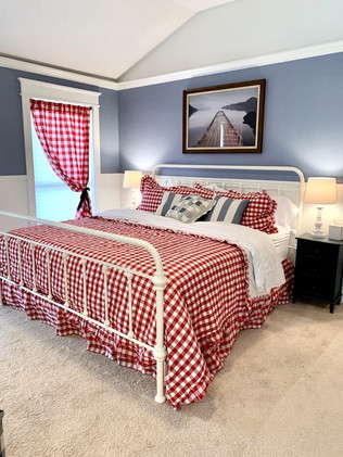 Red white and blue nautical bedroom
