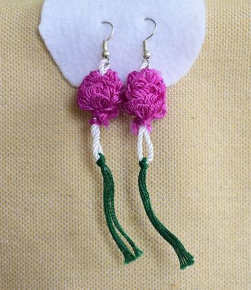 Fuchsia Loopstitch Drop Earrings