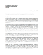 Joint Letter to the UNSG on Common Agend
