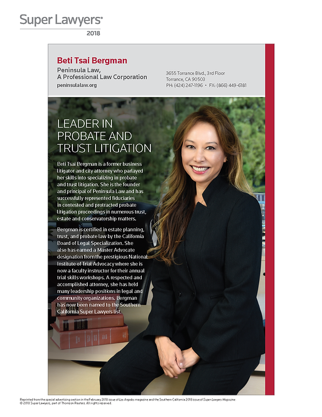 Beti Tsai Bergman - SuperLawyers 2018