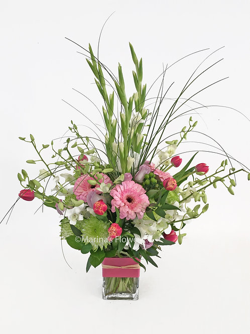 Tulips and Lily Grass Arrangement