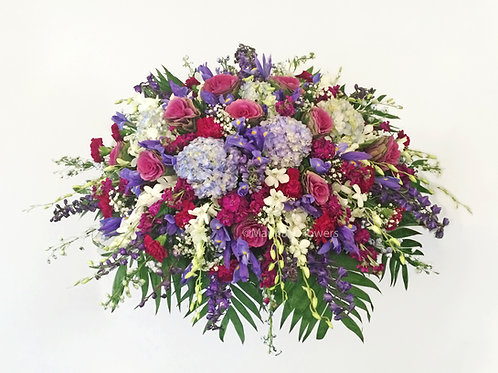 Blues and Purples Caskets Spray