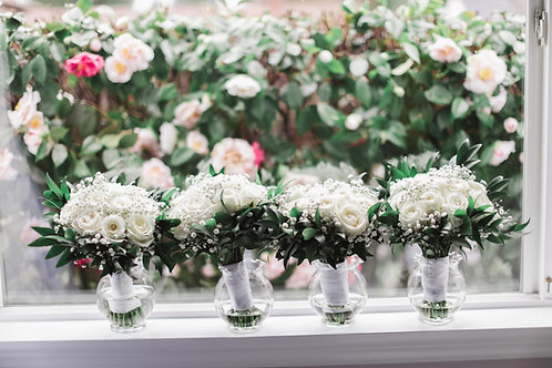 White Roses and Greens Bridesmaid Bouquets