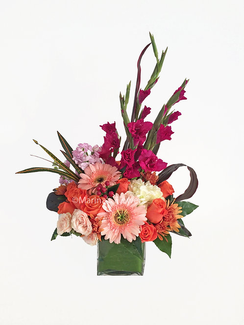 Peach and Magenta Table-top Arrangement