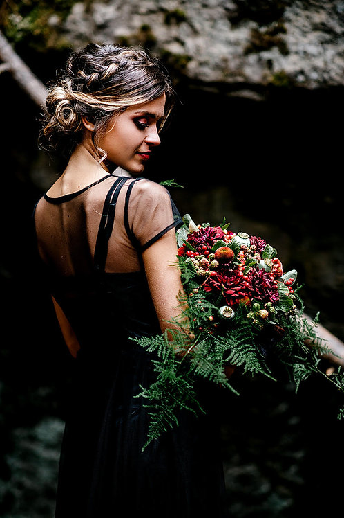 Burgundy Dahlias and Berries Bouquet