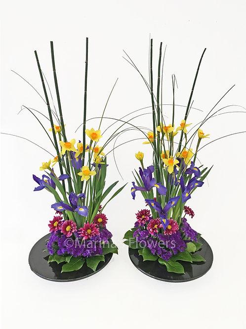 Daffodil Arrangements with Horsetail Fern