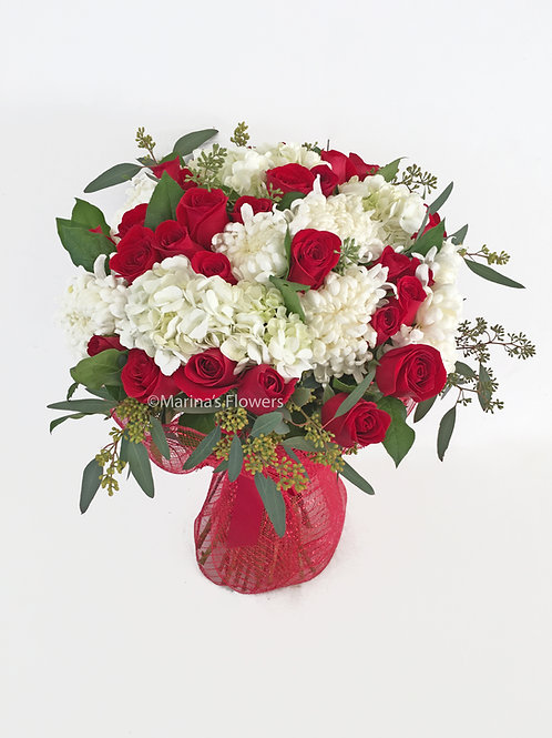 Red and White Hand-Held Bouquet