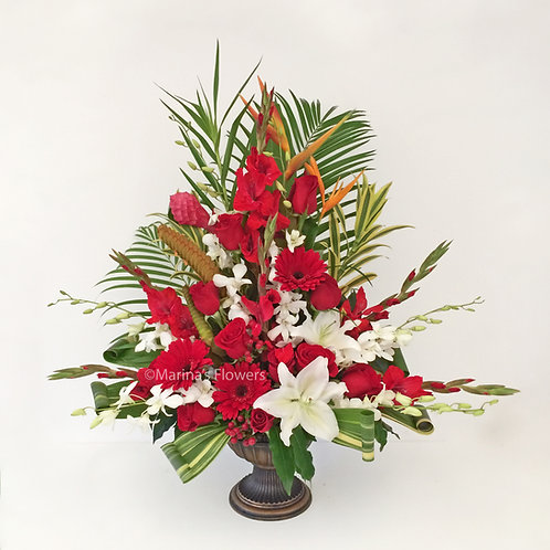 Red and White Semi-Tropical Arrrangement