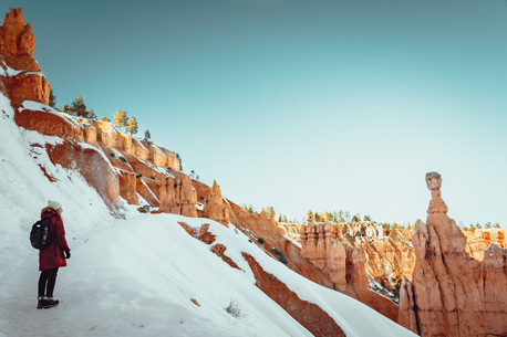 landscape in Bryce Canyon during wintertime