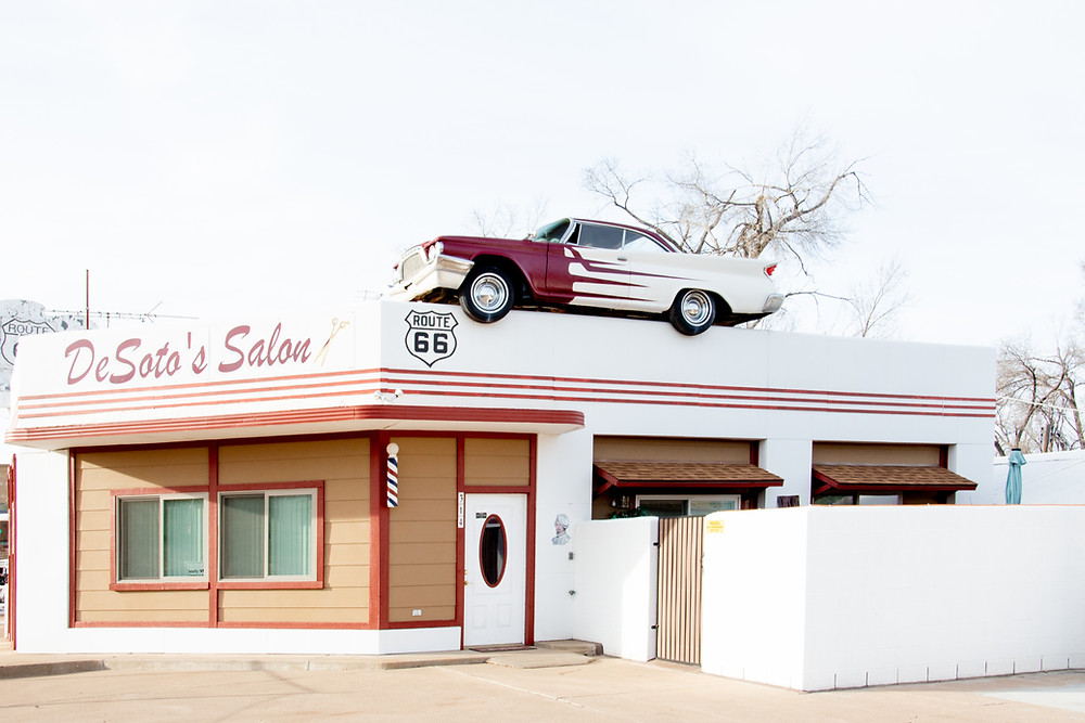 De Soto's Salon route 66 car on roof photo