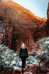hiking in Zion national park during wintertime