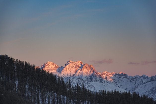 morning light on mountains alps france risoul