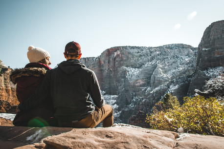 self portrait photo of couple in Zion national park