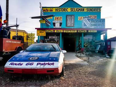 Route 66 patriot car seligman store USA musclecar