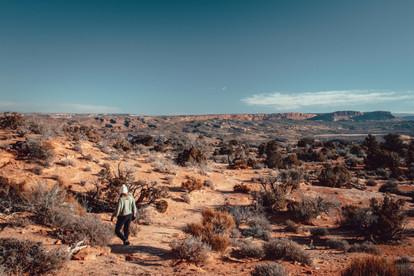 hiking trip in the desert in utah wintertime