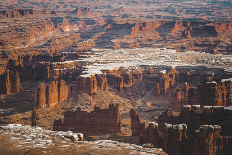 Canyonlands during winter with snow landscape