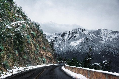Driving towards sequoia in winter snow chains