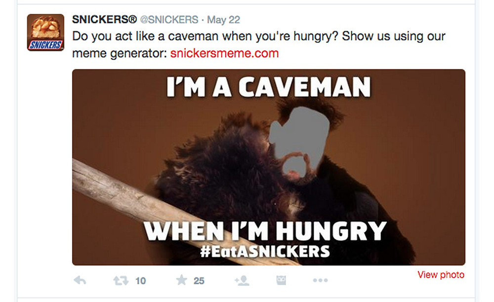 Snicker social media example. Buyer personas and archetypes example