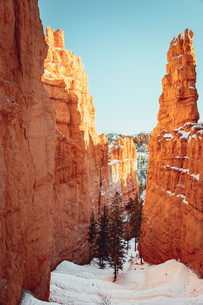 Orange rocks in Bryce Canyon snow