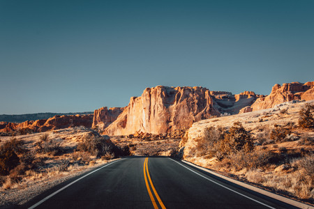 driving towards arches national park utah winter