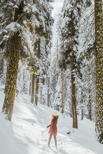 girl in snow Winter Photography in Sequoia