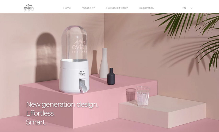 Homepage design with a focus on the products