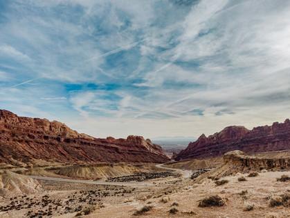 driving towards Canyonlands national park road