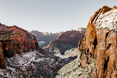 Zion national park in the snow landscape road