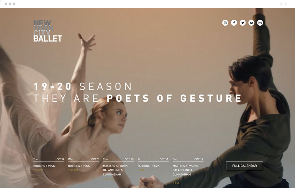 homepage for a ballet website