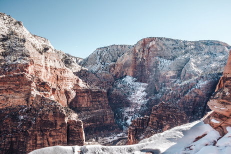 Zion national park angels landing during winter