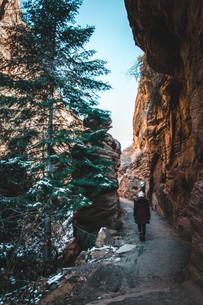 hiking towards angels landing zion in winter