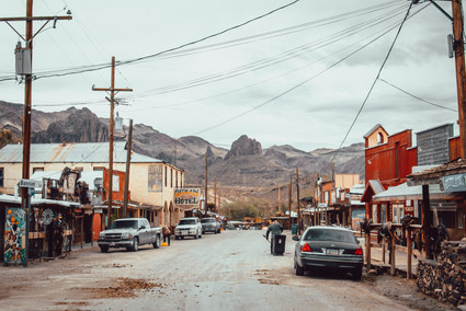 Street view of mining town on route 66 USA