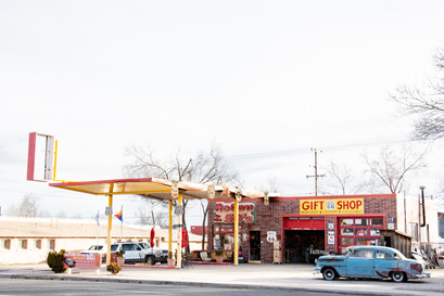Route 66 gas station and old cars photography