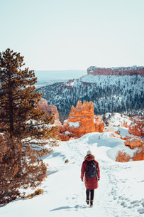 hiking in Bryce Canyon during wintertime snow