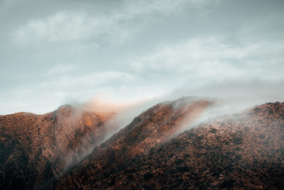 clouds and fog on the hills of Joshua tree USA