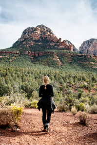 Girl overlooking forest in Sedona Arizona hiking