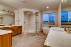 Master bath with freestanding tub.