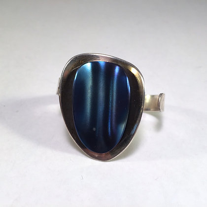 Two Finger Ring with blue titanium
