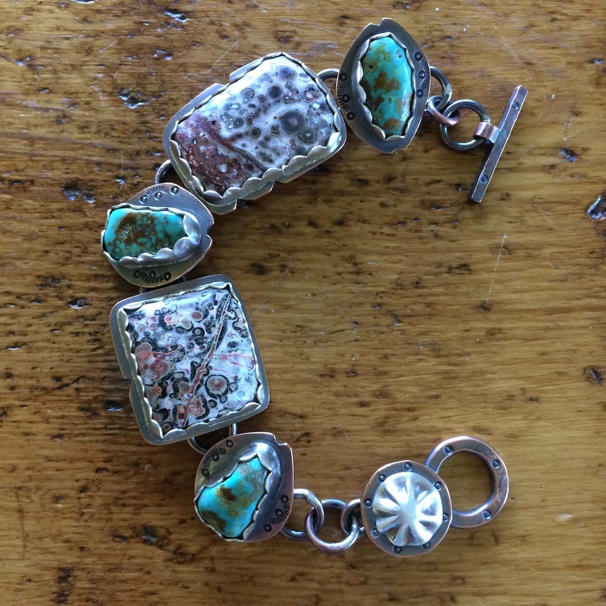 LEOPARDSKIN JASPER AND KINGMAN TURQ BRAC