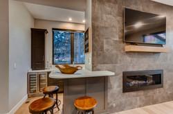 Wet bar at fireplace