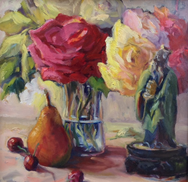 Sandy's Roses with Chinese Figurine.jpg