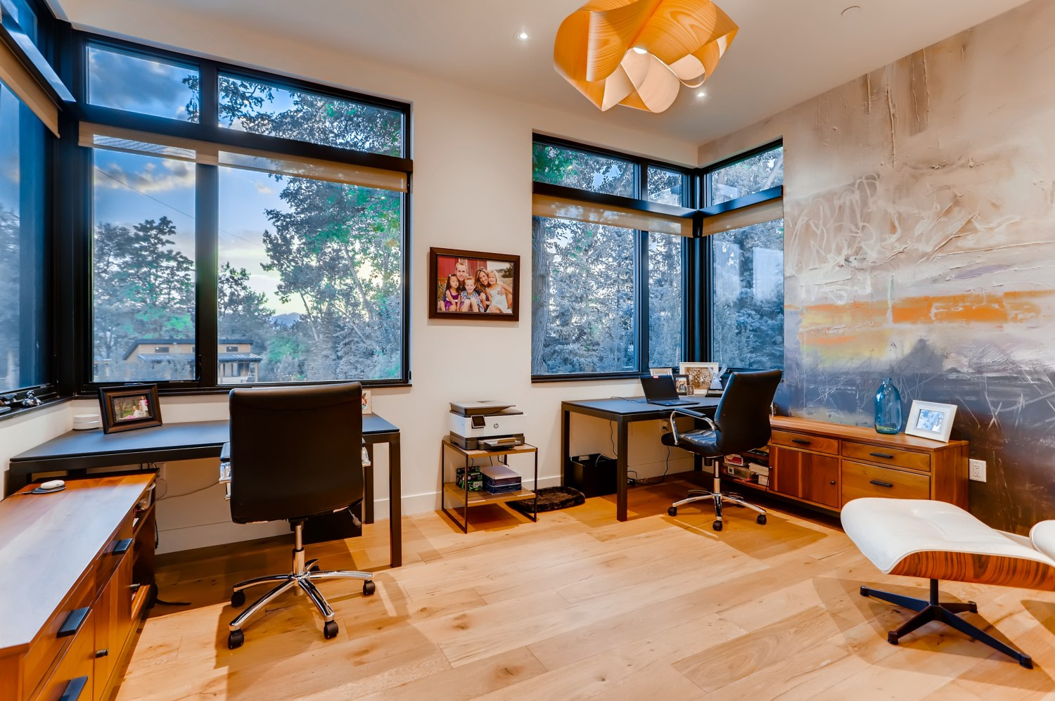 Home office with two built-in desks.